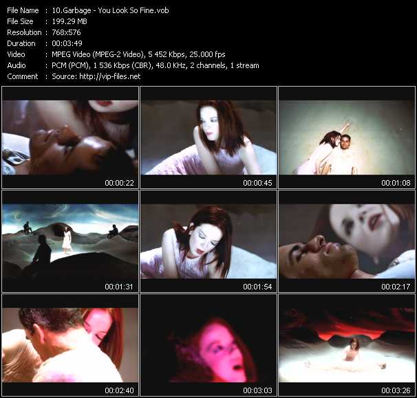 download Garbage « You Look So Fine » video vob
