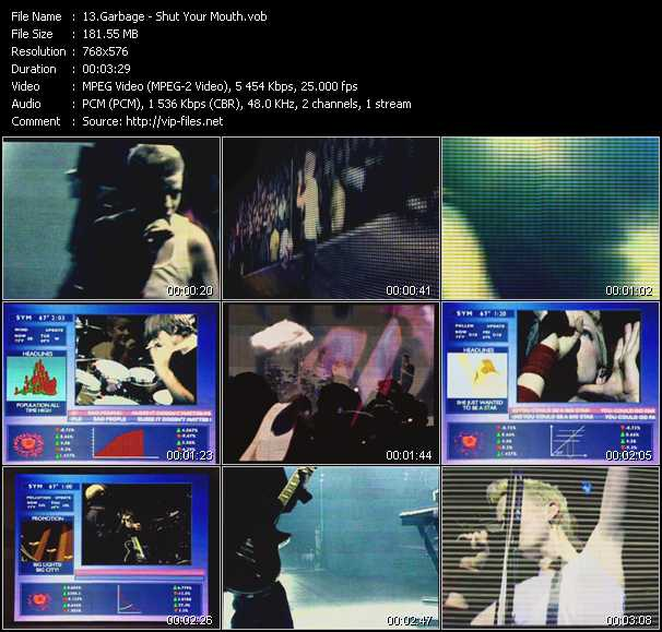 download Garbage « Shut Your Mouth » video vob