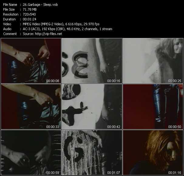 download Garbage « Sleep » video vob