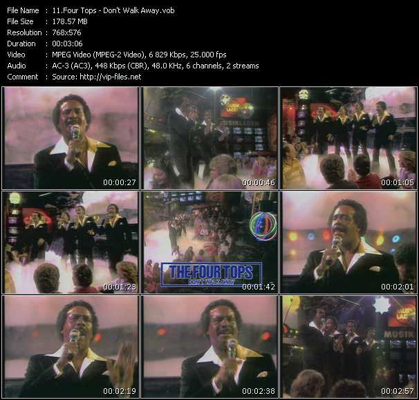 download Four Tops « Don't Walk Away » video vob
