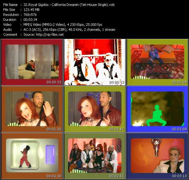download Royal Gigolos « California Dreamin' (Tek-House Single) » video vob