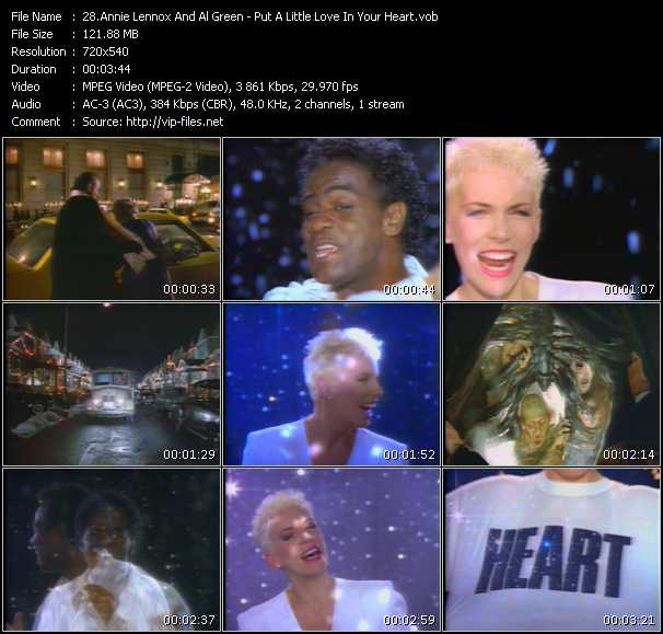 download Annie Lennox And Al Green « Put A Little Love In Your Heart » video vob