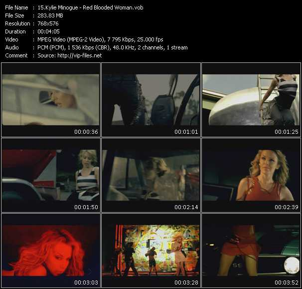 download Kylie Minogue « Red Blooded Woman » video vob