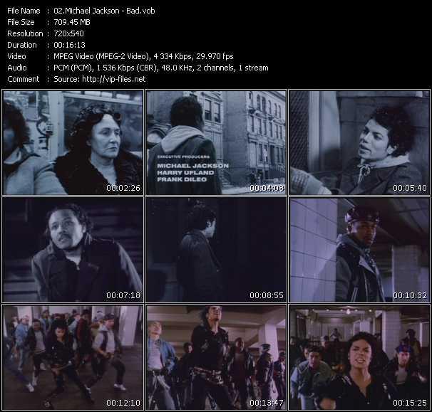 download Michael Jackson « Bad » video vob