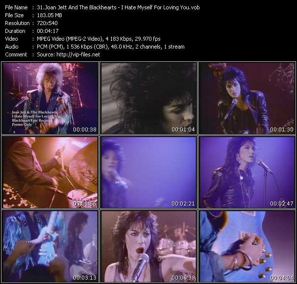download Joan Jett And The Blackhearts « I Hate Myself For Loving You » video vob