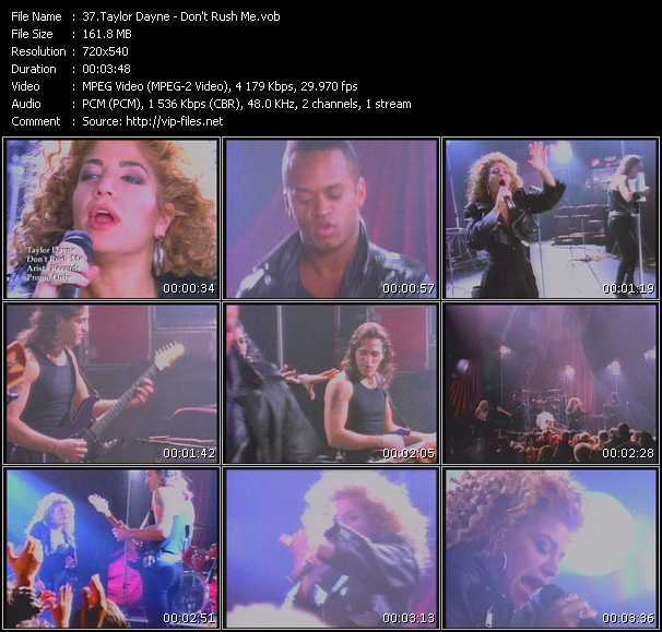 download Taylor Dayne « Don't Rush Me » video vob