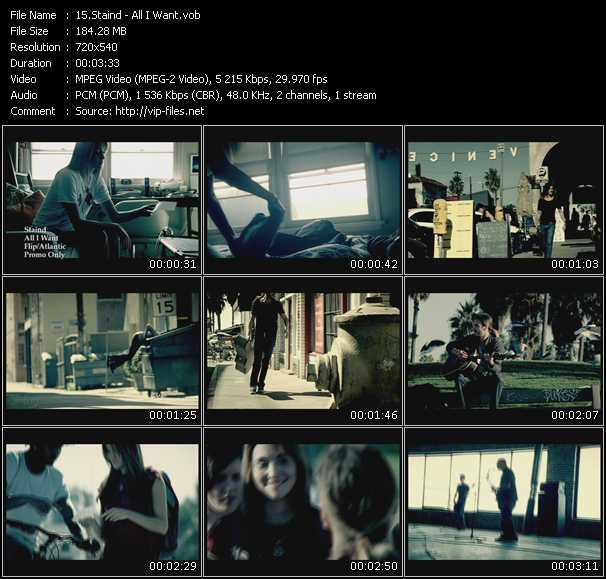 download Staind « All I Want » video vob