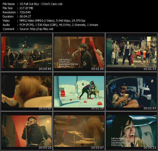 download Fall Out Boy « I Don't Care » video vob