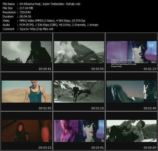 download Rihanna Feat. Justin Timberlake « Rehab » video vob