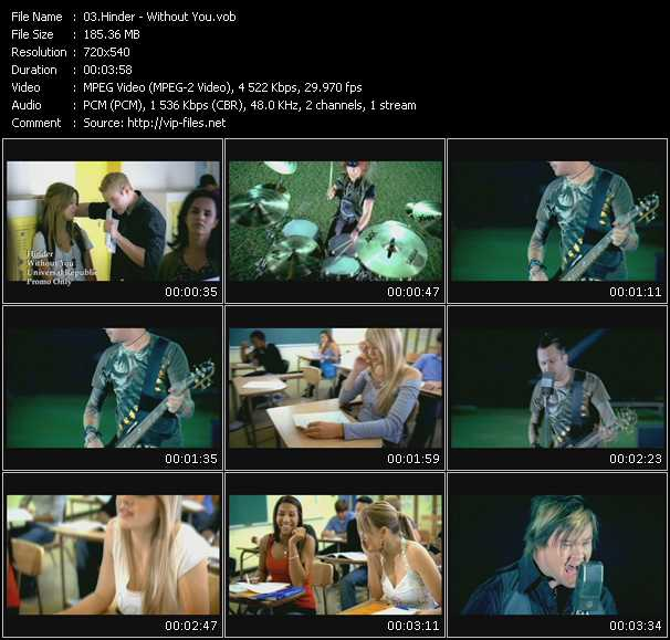 download Hinder « Without You » video vob