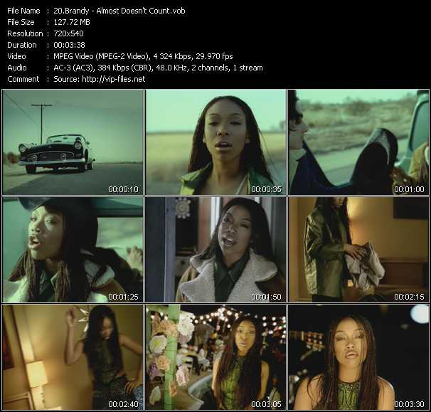 download Brandy « Almost Doesn't Count » video vob