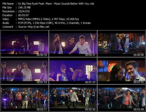 download Big Time Rush Feat. Mann « Music Sounds Better With You » video vob