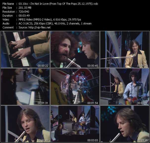 video I'm Not In Love (From Top Of The Pops 25.12.1975) screen