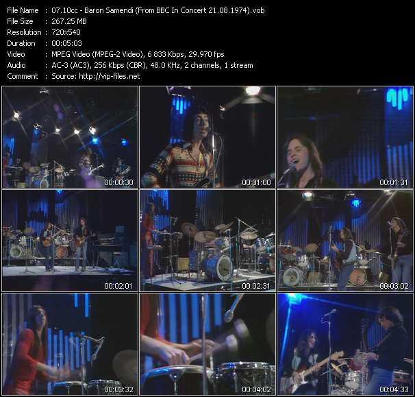 download 10cc « Baron Samendi (From BBC In Concert 21.08.1974) » video vob