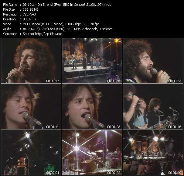 download 10cc « Oh Effendi (From BBC In Concert 21.08.1974) » video vob