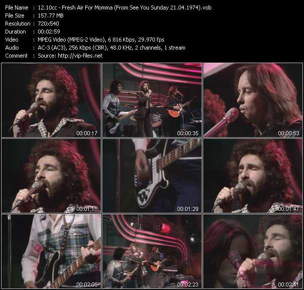 download 10cc « Fresh Air For Momma (From See You Sunday 21.04.1974) » video vob
