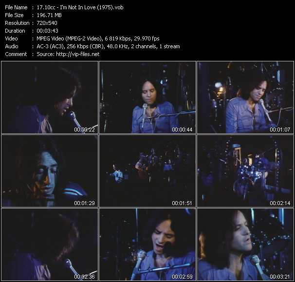 download 10cc « I'm Not In Love (1975) » video vob