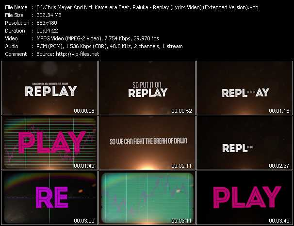 download Chris Mayer And Nick Kamarera Feat. Raluka « Replay (Lyrics Video) (Extended Version) » video vob