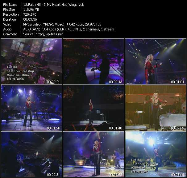 download Faith Hill « If My Heart Had Wings » video vob