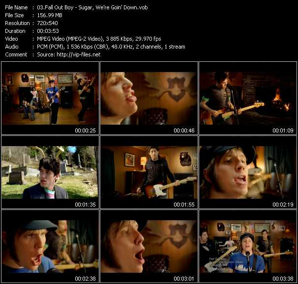download Fall Out Boy « Sugar, We're Goin' Down » video vob