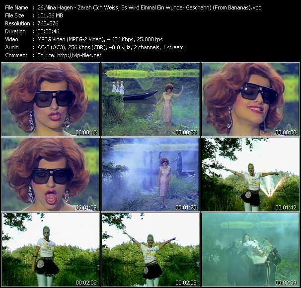 download Nina Hagen « Zarah (Ich Weiss, Es Wird Einmal Ein Wunder Geschehn) (From Bananas) » video vob