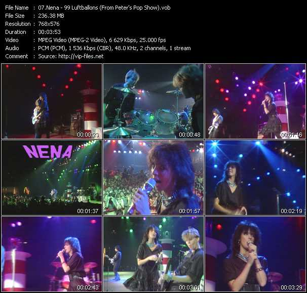 download Nena « 99 Luftballons (From Peter's Pop Show) » video vob