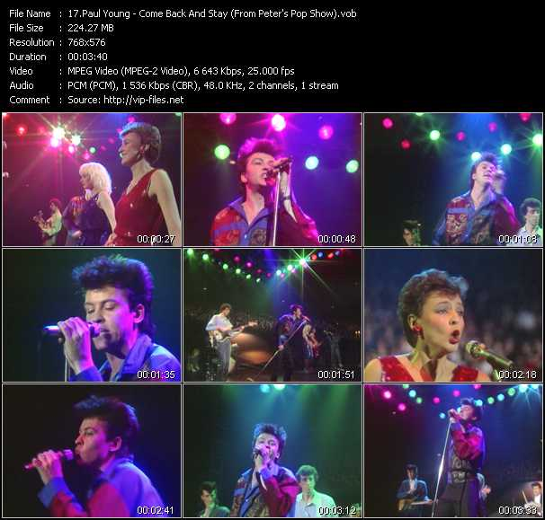 download Paul Young « Come Back And Stay (From Peter's Pop Show) » video vob