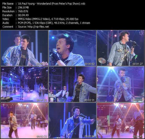 download Paul Young « Wonderland (From Peter's Pop Show) » video vob