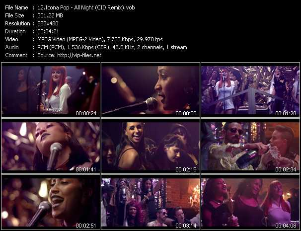 download Icona Pop « All Night (CID Remix) » video vob