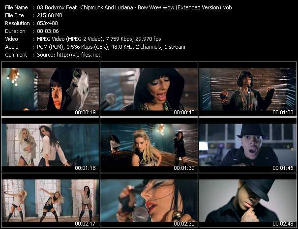 download Bodyrox Feat. Chipmunk And Luciana « Bow Wow Wow (Extended Version) » video vob