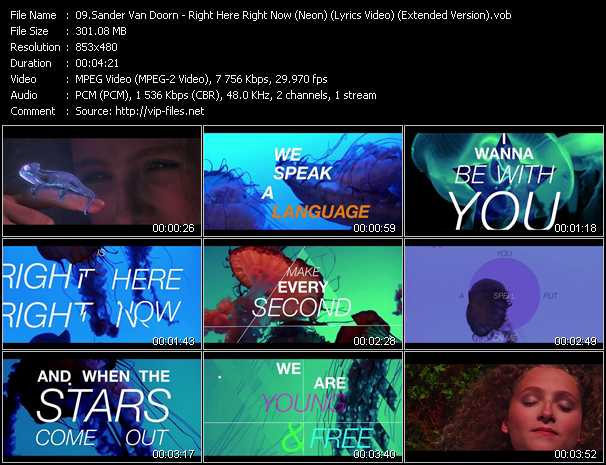 video Right Here Right Now (Neon) (Lyrics Video) (Extended Version) screen