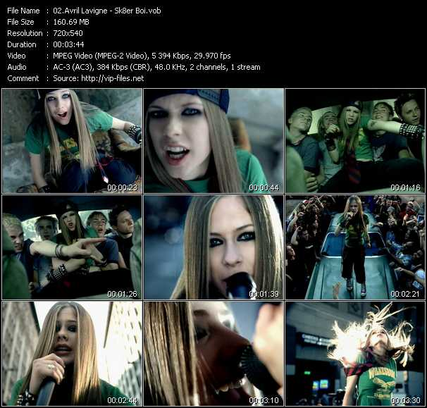 download Avril Lavigne « Sk8er Boi » video vob