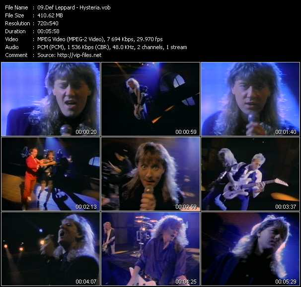 download Def Leppard « Hysteria » video vob