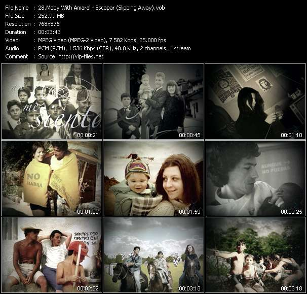 download Moby With Amaral « Escapar (Slipping Away) » video vob
