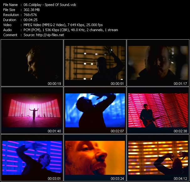 download Coldplay « Speed Of Sound » video vob