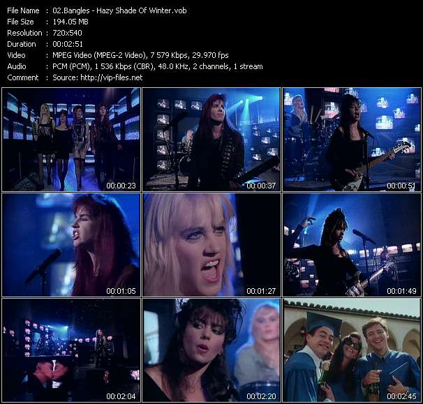 download Bangles « Hazy Shade Of Winter » video vob