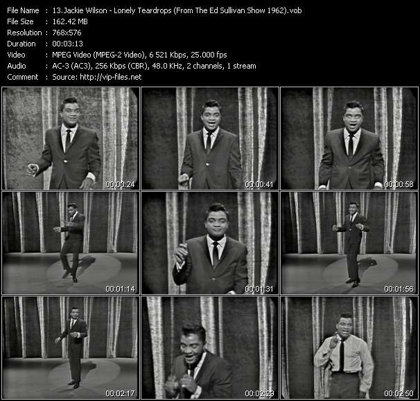 download Jackie Wilson « Lonely Teardrops (From The Ed Sullivan Show 1962) » video vob
