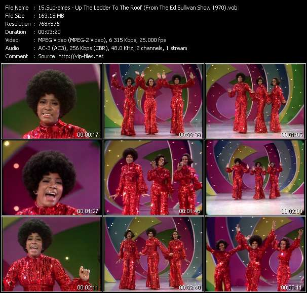 download Supremes « Up The Ladder To The Roof (From The Ed Sullivan Show 1970) » video vob