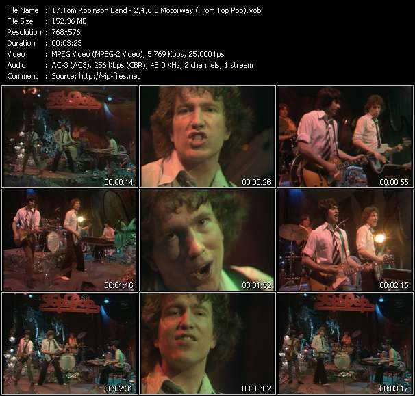 download Tom Robinson Band « 2,4,6,8 Motorway (From Top Pop) » video vob