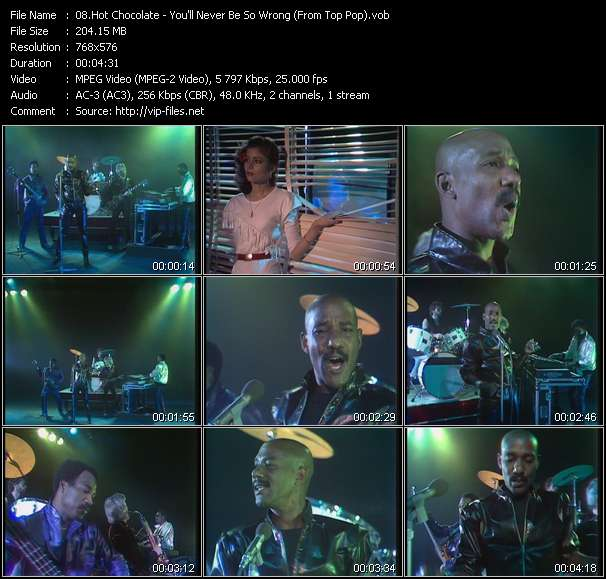 download Hot Chocolate « You'll Never Be So Wrong (From Top Pop) » video vob