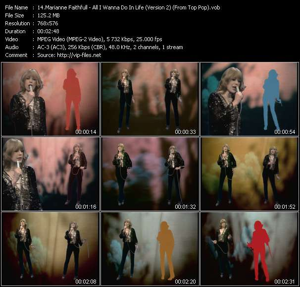 download Marianne Faithfull « All I Wanna Do In Life (Version 2) (From Top Pop) » video vob