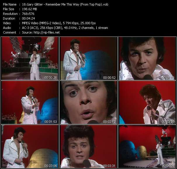 download Gary Glitter « Remember Me This Way (From Top Pop) » video vob