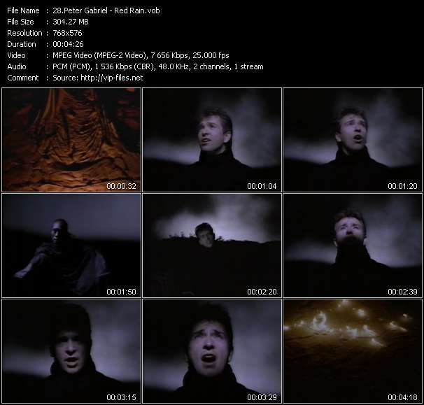 download Peter Gabriel « Red Rain » video vob
