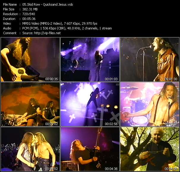 download Skid Row « Quicksand Jesus » video vob