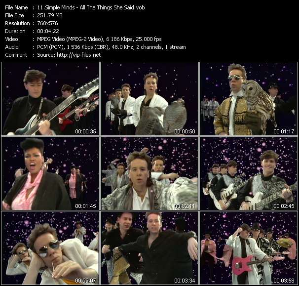 download Simple Minds « All The Things She Said » video vob