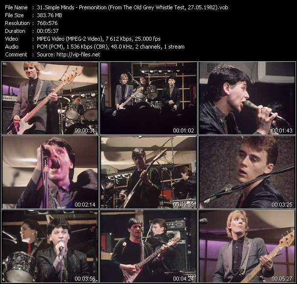 download Simple Minds « Premonition (From The Old Grey Whistle Test, 27.05.1982) (Recording From The Concert At The Hurrah Club, New York, 24.10.1979) » video vob