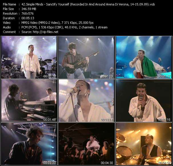 download Simple Minds « Sanctify Yourself (Recorded In And Around Arena Di Verona, Italy, 14-15.09.89) » video vob