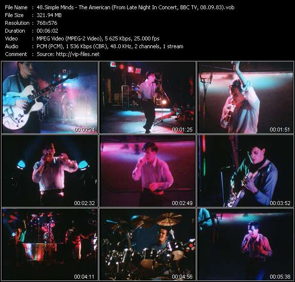 download Simple Minds « The American (From Late Night In Concert, BBC TV, 08.09.83) (Recording From The Concert At City Hall, Newcastle, England, 20.11.82) » video vob