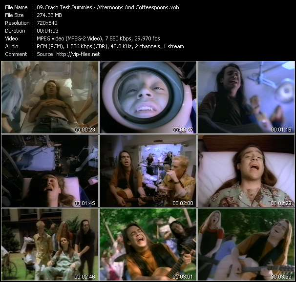 download Crash Test Dummies « Afternoons And Coffeespoons » video vob