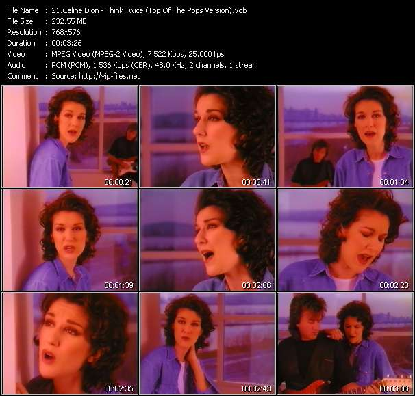 download Celine Dion « Think Twice (Top Of The Pops Version) » video vob